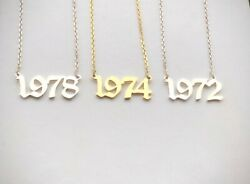 Personalised Birthday Year Necklacenumber Old English Font 925 Sterling Silver