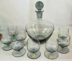 Tinka Decanter Set With Eight Glasses By A. D. Copier For Royal Leerdam Holland