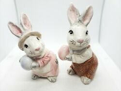 1990 Fitz And Floyd Mr And Mrs Bunny Rabbit Salt And Pepper Shaker Set 4.5