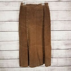 Robert Louis Women#x27;s L Genuine Suede Leather Skirt Long Grommets Western Country $49.99