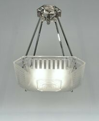 Muller Freres And A.bloch French 1930 Art Deco Pendant Chandelier .. Lamp France