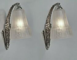 A Pair Of French 1930 Art Deco Wall Sconces By Muller Freres ....... Lamp France
