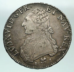1787 L France King Louis Xvi Large Silver Antique Old French Ecu Coin I84862