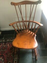 S Bent And Bros Co. Rocking Knitting Chair Bowback Windsor Maple Wood Antique Gl