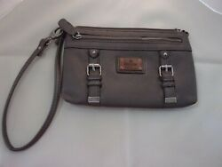 Nicole Wristlet two zippers lots of space 5 x 8 x .5 inches dark Khaki $10.00