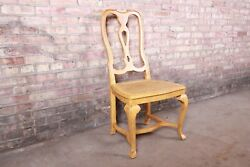 Baker Furniture French Provincial Louis Xv White Oak And Cane Dining Chair