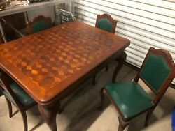 Antique Draw Leaf Parquet Table With 4 Original Chairs French Carved Tiger Oak