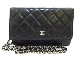 Auth CHANEL Matelasse A33814 Black Lambskin Other Style Wallet