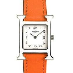 Hermes Hh1.220 H Watch White Lacquer Bezel Battery Replaced Qz Ladies [e0707]