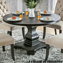 Antique Round Dining Table Room Wood Farmhouse Pedestal Kitchen Furniture Black