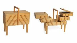 Large Wooden Cantilever Sewing Basket Legs - 3 Tier Sewing Craft Box Light