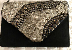 Black Suede And Bronze Clutch With Chain Strap $45.00