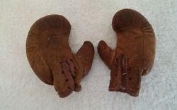 Antique Draper And Maynard Leather Salesman Sample Miniature Boxing Gloves D And M
