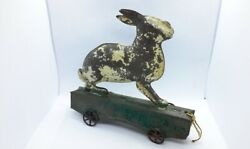 Antique Victorian Tin Metal Easter Bunny Rabbit Pull Toy