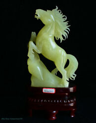 15 Chinese Natural Xiu Jade Jadeite Carved Success Stand Horse Horses Sculpture