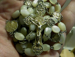 Huge Antique 1800s French Sterling 800 Silver Mother Of Pearl Rosary