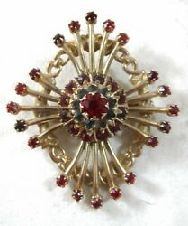 Vintage 10k Yellow Gold Ruby Pendant / Brooch - Ps Co