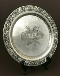 Atq Meriden Wilcox Quadruple Silver Plated Embossed Floral Platter Serving Plate