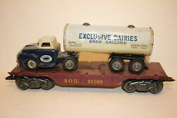 1950's Marx 51100 Piggyback With Tin Friction Exclusive Dairies Truck And Trailer