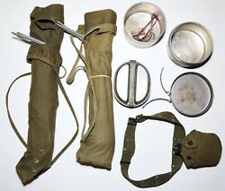 Vintage Army/usmc Military Surplus Wwii/vietnam Cots-belt-canteen And Cooking Pans