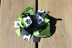 Puppy Ribbon Hair Bow With Feathers and Korkers $7.65