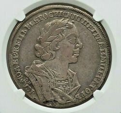 1725 ОК Russia Peter I The Great Silver Ruble Ngc Vf-30 L@@k