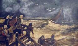 Painting 19th Cent Oil Painting Of Shipwreck Storm Rescue Smw