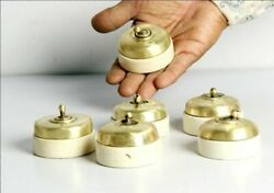 Vintage Old Collectible 6 Ps Brass And Ceramic Electric Switches Made In England