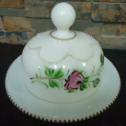 Vintage Large Opaque Milk Glass Butter Dish-hand Painted Roses-victorian