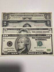 All Set Of 4《matching Binary Bills Unc 》1and2and5and10 Bills 41444444,super Top Rare!!