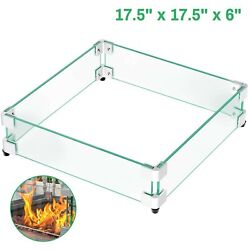 Gaspro 17.5 Square Fire Pit Glass Wind Guard, Clear Tempered Glass Wind Guar...