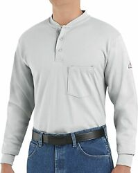 Bulwark Menand039s Flame Resistant 6.25 Oz Cotton Long Sleeve Tagless Henley Shirt