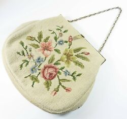 VTG FRENCH BAG SHOP PETIT POINT EMBROIDERY PURSE IVORY COLORED FLORAL PATTERN $35.00