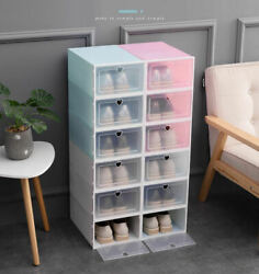 12 PCS Stackable Foldable Shoe Box Storage Plastic Transparent Organizer