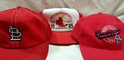 Lot Of 3 Vintage St Louis Cardinals Ball Caps 1985 2006 Champs Mlb Hat Cards B2