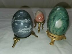 3 Polished Stone Eggs On Stands