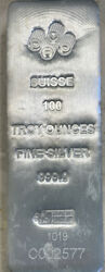 Pamp Swiss 100 Ounce 999.0 Fine Silver Bar With Certificate