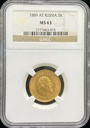 1889 At Russia 5 Rouble Gold Coin Ngc Ms 63