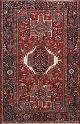 Antique Vegetable Dye Gharajeh Area Rug Geometric Hand-knotted 5x6 Wool Carpet