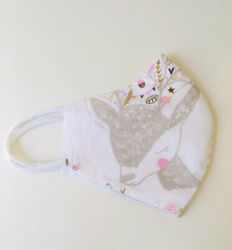 """Sleeping Deer Floral Leaves White Face Mask Adult Size 10"""" X 5.5"""" $3.99"""