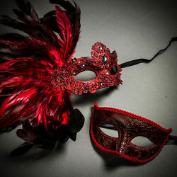 Red Glitter Venetian Classic amp; Venice Side Feather Red Couple Masquerade Masks