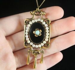 Antique Victorian 14k Gold Natural Black Onyx Opal And Seed Pearl Necklace