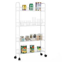 4 Tier Rolling Utility Cart Trolley Storage Lockable WheelsMovable flower stand