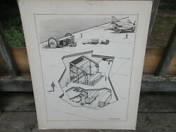 Pierre Mion Original Print Drawing Usn Navy Jet Aircraft Carrier Containers 20