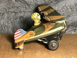 Vintage Marx | 5 Military Looping Plane | Tin Wind-up Toy | Very Good | Works