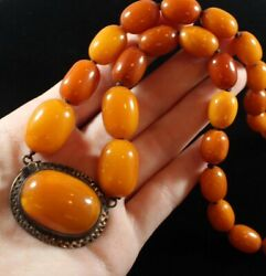 Antique Chinese Butterscotch And Egg Yolk Natural Amber Beaded Necklace