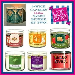Bath Body Works 3-wick Candle Value Bundle Of Two 2 Best Candle In The World
