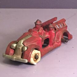 Antique Cast Iron Fire Truck With White Wheels Arcade