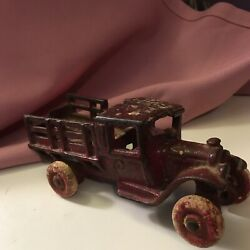 Antique Arcade Toy Cast Iron Red Farm Truck With White Wheels