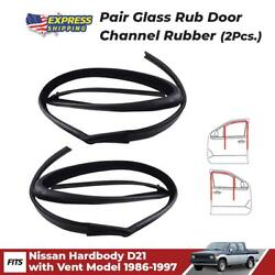 Pair Glass Run Door Channel Rubber Fits Nissan Hardbody D21 With Vent 1986-1997